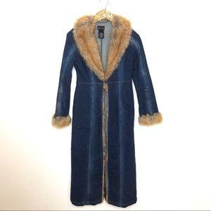 Bebe 90s Denim Fur Lined Duster Jacket